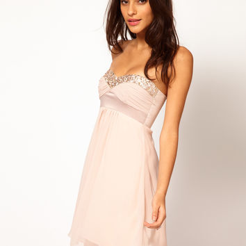 Elise Ryan Sequin Trim Chiffon Babydoll Dress