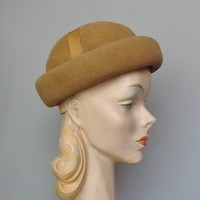 1960s Light Brown Molded Felt Hat with Ribbon Trim, , 21 inch head