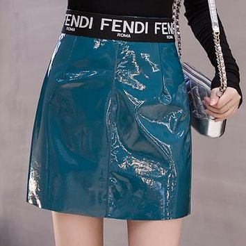 FENDI Newest Fashionable Women Sexy Paint Bright Leather High Waist Skirt Blue