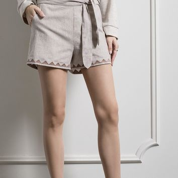 Side Tie Trimmed Shorts