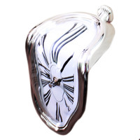 90 Degree Twisted Wall Clock Creative    silver