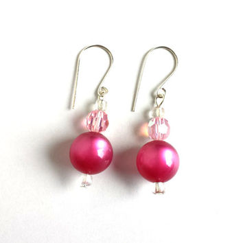 Pink and silver sparkly earrings, vintage ombre fuchsia bead and light pink sparkly faceted bead