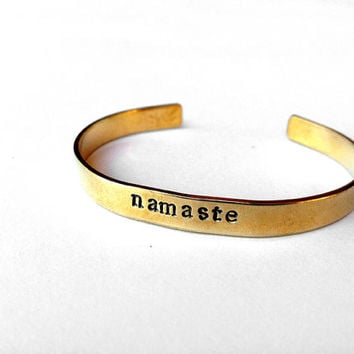 yoga namaste bracelet - brass cuff bangle om - buddah quote