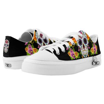 Flower Skull Day of the Dead Design Low-Top Sneakers