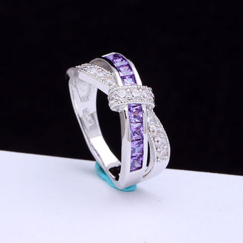 amethyst cross finger ring for lady paved cz zircon luxury hot Princess women Wedding Engagement Ring purple pink color jewelry