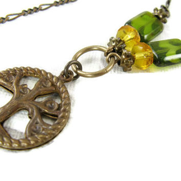 Tree of Life Necklace - Olive Green and Topaz Glass - Brass Chain Necklace