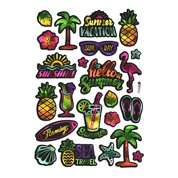 Hello Summer Holographic Foil Neon Stickers, 23-Piece