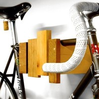 wall mounted bike rack reclaimed wood by cantileverandpress