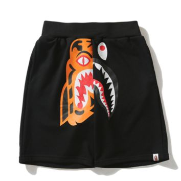 Bape Aape Summer Fashion New Tiger Shark Print Women Men Shorts Black