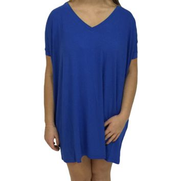 Blue Piko Tunic V-Neck Short Sleeve Top
