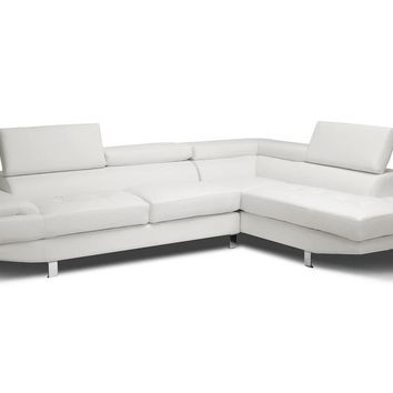 Baxton Studio Selma White Leather Modern Sectional Sofa Set of