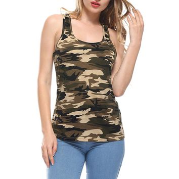 Fashion 2017 Women's Summer Tank Tops Camouflage Round Neck Sleeveless Female Blouses Streetwear Casual Vest Fitness Clothing