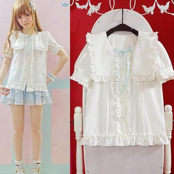 Super Cute Girls Lolita Square Sailor Navy Collar Fabala Trim Beige Blouse Button Down with 3 color bows
