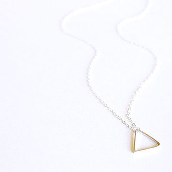 Triangle Necklace - 14k Gold Fill or Sterling Silver - Geometric Necklace - Minimalist Delicate Simple Thin - Layering Necklace Basic Shapes