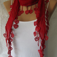 Red Scarf, Lace scarf, Fashion ,Christmas Gift, Heart  Lace Scarf, Red Headband