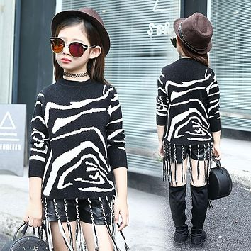 Spring new girls sweater trendy fashion casual striped knit tassel zebra sweater big child clothes