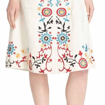 Alice + Olivia Giselle Embroidered High Waist Leather Midi Skirt