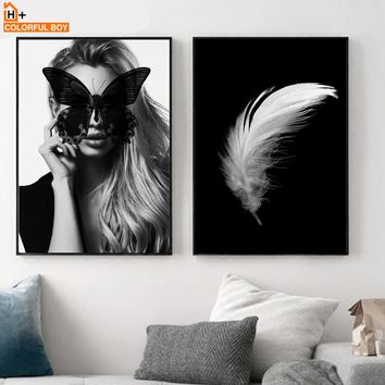 COLORFULBOY Nordic Poster Girl Butterfly Feather Black White Wall Art Print Canvas Painting Wall Pictures For Living Room Decor