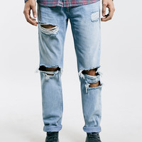 Light Wash Ripped Skinny Fit Jeans - Topman