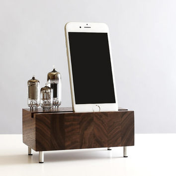 Charging stand for iPhone 6/6 Plus Samsung Galaxy handcrafted butcher block from walnut wood with triple electron tubes