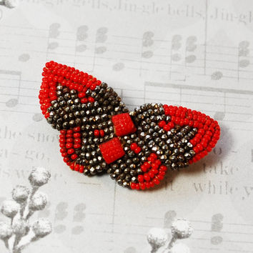 Antique Victorian Brooch / Pin, Hand Beadwork Butterfly Applique, Red Glass Seed Beads, Cut Steel, 1800s Jewelry, Valentines Day Gift