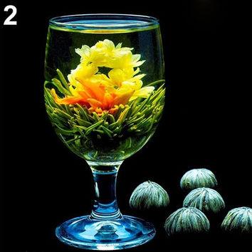 Elegant 4 Balls Different Handmade Blooming Flower Green Tea Home Wedding Gift (Size: One Size) = 1958267588