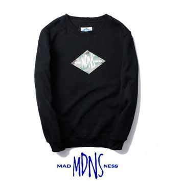 Autumn and winter tide card MDNS Diamond Plus cashmere leisure sweater Black camouflage