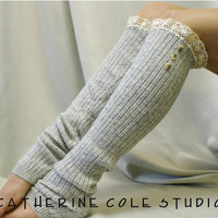 SALE GREY  lace leg warmers womens Cashmere feel ROOMIER fit larger calves amazing softness by Catherine Cole Studio legwarmers knit rib