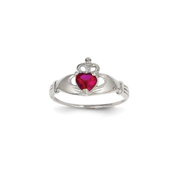 14k White Gold CZ July Birthstone Claddagh Heart Ring