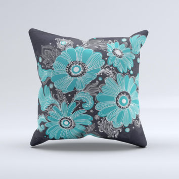 Bright Blue Accented Flower Illustration  Ink-Fuzed Decorative Throw Pillow