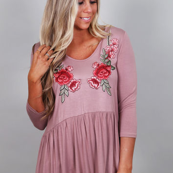 Stop & Smell The Roses Top {Mauve}