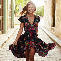 Fashion Sexy Ethnic Retro Floral Peacock Print V-Neck Short Sleeve Hem Split Maxi Dress