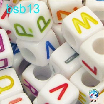 250 Assorted Colors on White Alphabet Letter Kandi Beads