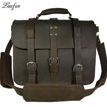 Men's Thick Crazy horse leather briefcase genuine leather rucksack big capacity travel daypack Cow leather shoulder bag