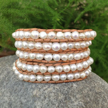 BraceletsForMe 5 Wrap Beach/Summer Bracelet Natural Leather with Freshwater Pearls