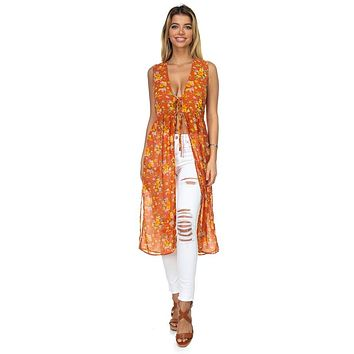 Women's Top Fashion Outfit Floral Ditsy Print Sheer Vest Duster