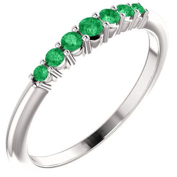 Ben Garelick Round Cut Stackable Emerald Ring