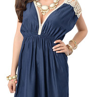 Navy Sweet Sheer Crocheted Cold Shoulder Dress