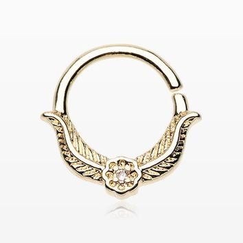 Golden Vintage Laurel Leaf Sparkle Septum Twist Loop Ring