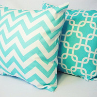 BOGO Sale - 2 Coordinating Decorative Throw Pillow Covers in Teal Blue and White - 16 x 16 inches Cushion Cover Accent Pillow
