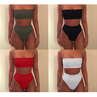 Strapless High Waist Multicolor Underwear Lingerie Set