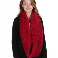 Red Soft fur Infinity Scarf
