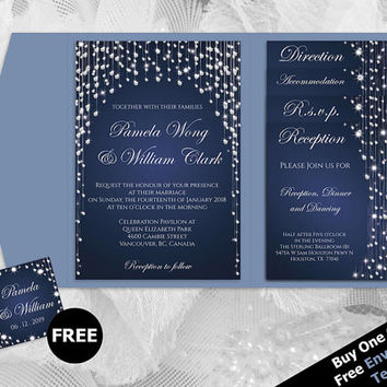 DIY Printable Wedding Pocket Fold Invitation Set A7 5 x 7 | Editable MS Word file | Winter Silver Diamond Shower Navy Blue