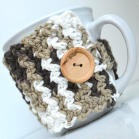 Cotton Coffee Mug Cozy, Brown Ombre, Crocheted Mug Cozy, Cup Sleeve