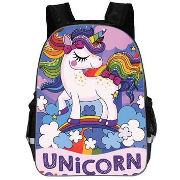Toddler Backpack class Unicorn Backpack Dab Small Pony Rainbow Horse Teenagers Boys Girls Toddler Animal Kid School Bags Men Women Mochila Bolsa AT_50_3