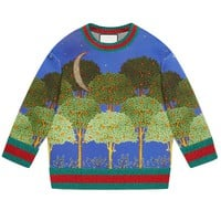 Indie Designs Gucci Inspired Night Garden Print Double Fleece Sweatshirt