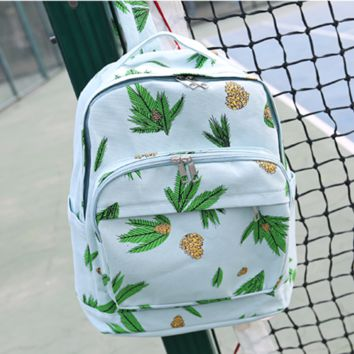 Floral Printed Lightweight Canvas Backpack
