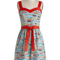 Bea & Dot Vintage Inspired Mid-length Sleeveless A-line For the Record Books Dress