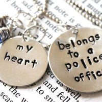 "SALE- Hand Stamped ""my heart belongs to a police officer"", Police Officer Wife or Girlfriend, Deputy, Cop, State Trooper Necklace"