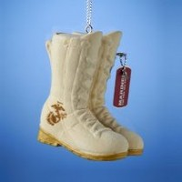 Flocked U.S. Marine Corps Combat Boots Military Troops Ornament